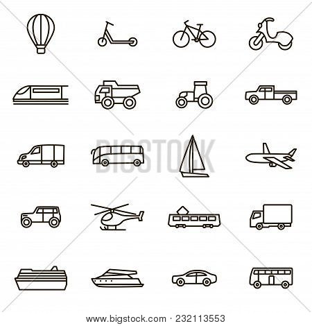 Transport Signs Black Thin Line Icon Set Include Of Car, Bus, Train, Plane, Bicycle And Truck. Vecto