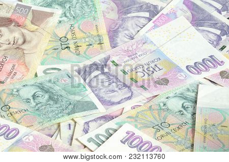 Czech Banknotes Money Currency Texture Background Patern