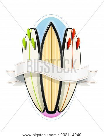 Surf Board For Sutfing. Sport Inventories. Sporting Hobby. Wave Surfboard. Isolated White Background