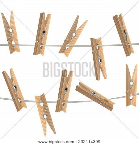 Realistic Detailed 3d Wooden Clothespins Hanging On A Rope Tools Of Laundry On White Background. Vec