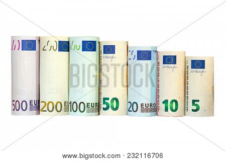 Rolls of Euro Banknote. Different European money 5 10 20 50 100 200 500 isolated on white background