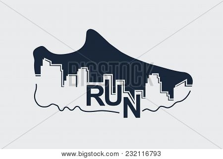 Abstract Poster - Running, Sport Shoe And The City.