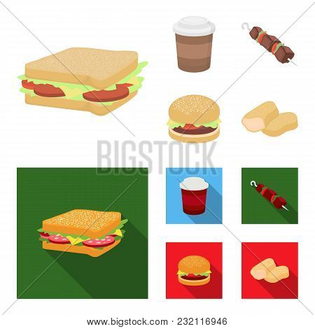 Sandwich, Coffee, Shish Kebab, Burger.fast Food Set Collection Icons In Cartoon, Flat Style Vector S