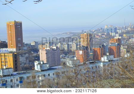 VLADIVOSTOK, RUSSIA - APRIL 8, 2016: A view of the city from above