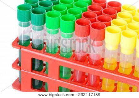 Set Of Chemical Test Tubes With Different Colors Chemicals. Flasks For Laboratory Testing Isolated O