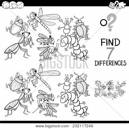 Differences Game With Insects Coloring Book