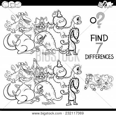Differences Game With Fantasy Dragons Coloring Book