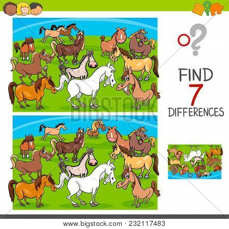 Find Differences Game With Horses Animal Characters