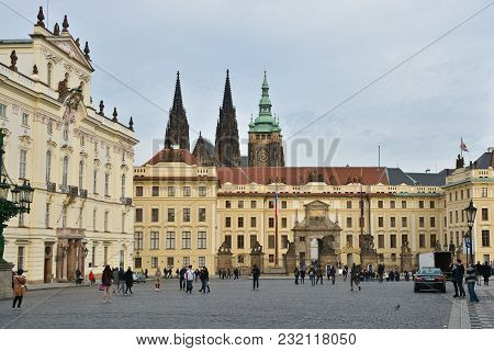 Residence Of The Czech President In The Prague Castle. The Square In Front Of The Presidential Palac
