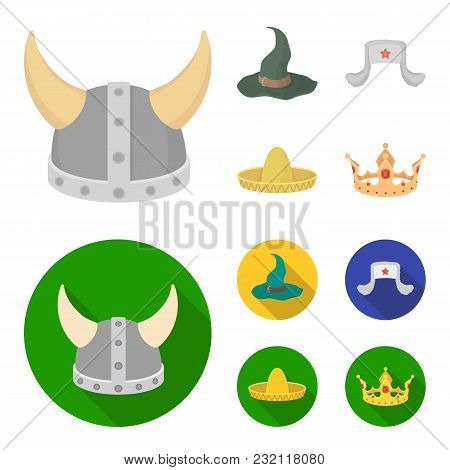 Sombrero, Hat With Ear-flaps, Helmet Of The Viking.hats Set Collection Icons In Cartoon, Flat Style