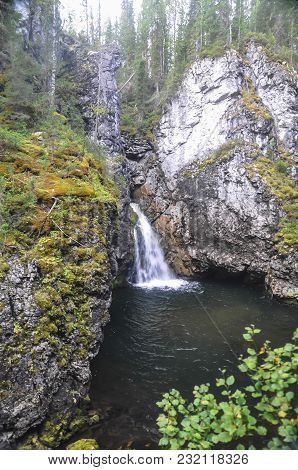 Virgin Komi Forests, A Waterfall In The Rocks. The Object Of Unesco World Heritage In The National P