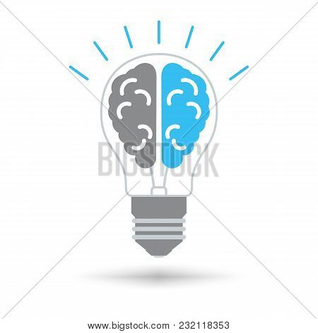 Lightbulb With Brain Icon. ?reative Idea Design Concept. Isolated Vector Illustration.