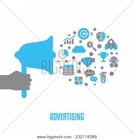 Advertising Design Concept With Business And Finance Icons. Isolated Vector Illustration.