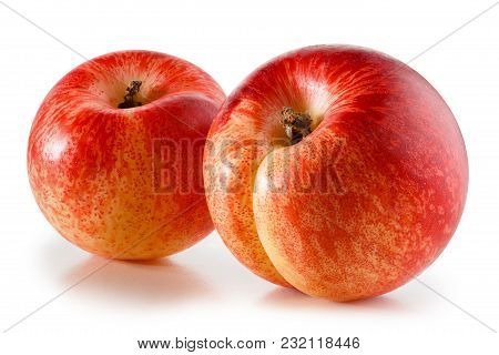 Nectarines Isolated On White Background With Clipping Path
