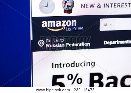 Ryazan, Russia - March 01, 2018 - Front Page Of Amazon Market Place On A Display Of Pc, Adress: Amaz