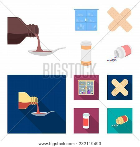 Syrup In A Spoon, Plaster, Honey, Medical Cabinet.medicine Set Collection Icons In Cartoon, Flat Sty