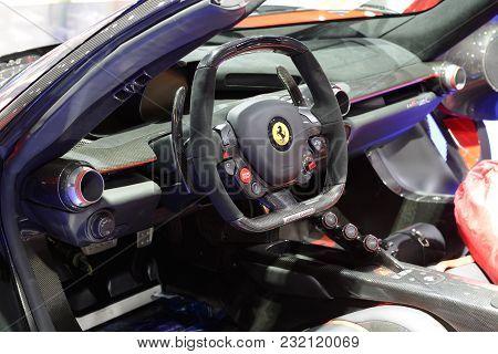 Dubai, Uae - November 18: The Ferrari Laferrari Sportscar Is On Boulevard Of Dreams On Dubai Motor S