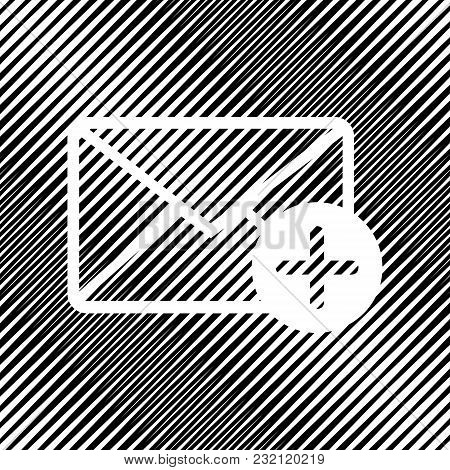 Mail Sign Illustration With Add Mark. Vector. Icon. Hole In Moire Background.