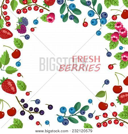 Berry And Fruit Background With Fruity Frame Composed Of Strawberry, Cherry, Grape, Blueberry, Raspb
