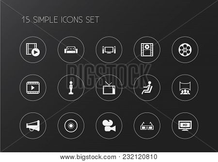 Set Of 15 Editable Movie Icons. Includes Symbols Such As Megaphone, Camera Strip, Sofa And More. Can