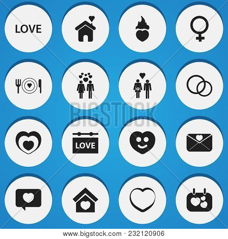 Set Of 16 Editable Love Icons. Includes Symbols Such As People, Lineage, Hanging Board And More. Can
