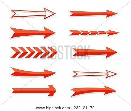 Arrow Icon Sign Set. 3d. Stock Vector.