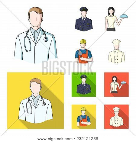 The Doctor, The Pilot, The Waitress, The Builder, The Mason.profession Set Collection Icons In Carto