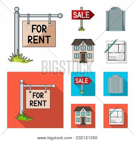 Signs Of Sale And Rent, A Skyscraper, A Two-story Cottage.realtor Set Collection Icons In Cartoon, F