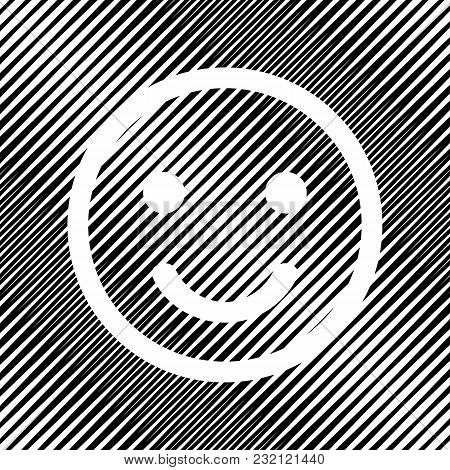 Smile Icon. Vector. Icon. Hole In Moire Background.