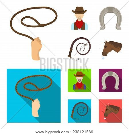 Hand Lasso, Cowboy, Horseshoe, Whip. Rodeo Set Collection Icons In Cartoon, Flat Style Vector Symbol