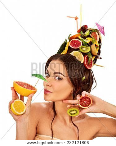 Hair and facial mask from fresh fruits for woman concept. Girl care her skin homemade by dint of organic therapy on isolated. Acceleration of hair. Spring discounts for visiting the spa salon.