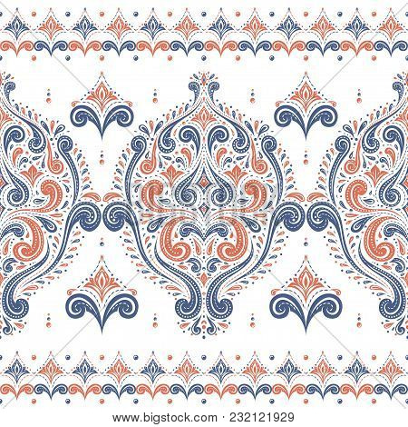 Blue And Orange Ornamental Seamless Pattern. Vintage, Paisley Elements. Ornament. Traditional, Ethni