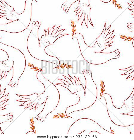 The Dove Carries A Laurel Branch In Its Beak. Seamless Pattern To Create A Festive Printing