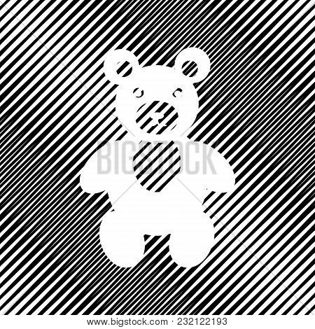 Teddy Bear Sign Illustration. Vector. Icon. Hole In Moire Background.