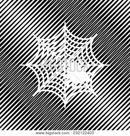 Spider On Web Illustration. Vector. Icon. Hole In Moire Background.