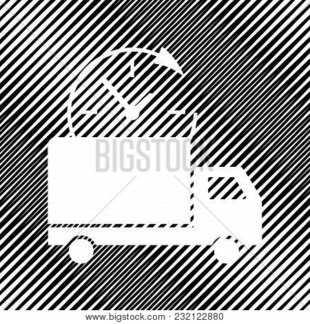 Delivery Sign Illustration. Vector. Icon. Hole In Moire Background.