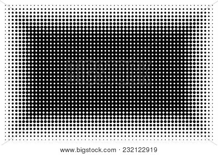 Monochrome Abstract Futuristic Halftone Pattern. Comic Background. Dotted Backdrop With Circles, Dot