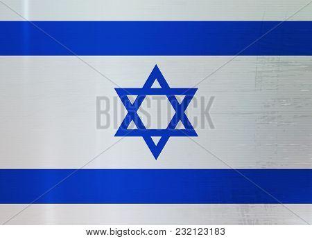 Israel Flag On Metal Texture Background. Vector Illustration. Israeli Symbol Grunge Metallic Surface