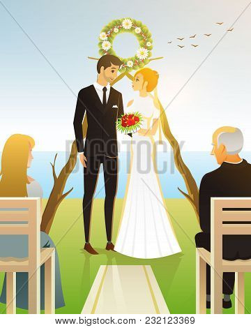 Bride And Groom. Wedding Ceremony On The Beach By The Sea. Newlyweds, Valentines Day. Vector Illustr