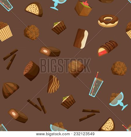 Chocolate Sweets Seamless Pattern Background Include Of Candy, Dessert, Donut, Cake And Muffin . Vec