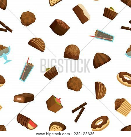 Chocolate Sweets Seamless Pattern Background On A White Include Of Candy, Dessert, Donut, Cake And M