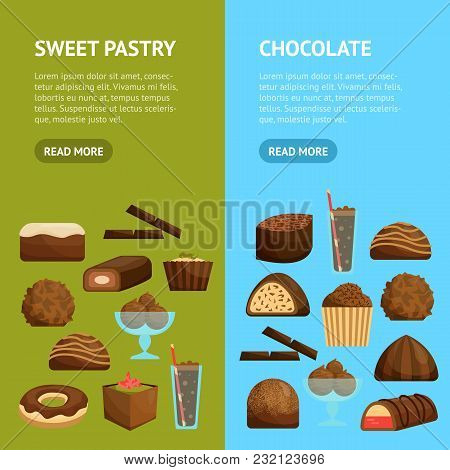 Chocolate Sweets Banner Vecrtical Set Include Of Candy, Dessert, Donut, Cake And Muffin . Vector Ill