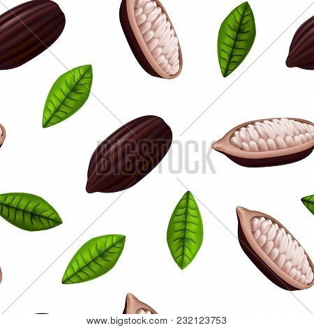 Realistic 3d Fresh Raw Cocoa Beans Seamless Pattern Background On A White With Leaves Plant Ingredie