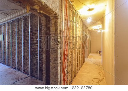 Working Process Of Install Of Frames For Drywall  In An Apartment Is Under Construction, Remodeling,