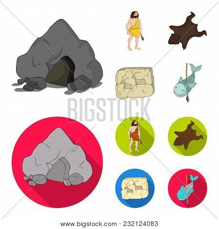 Ancient, World, Stone Age .stone Age Set Collection Icons In Cartoon, Flat Style Vector Symbol Stock