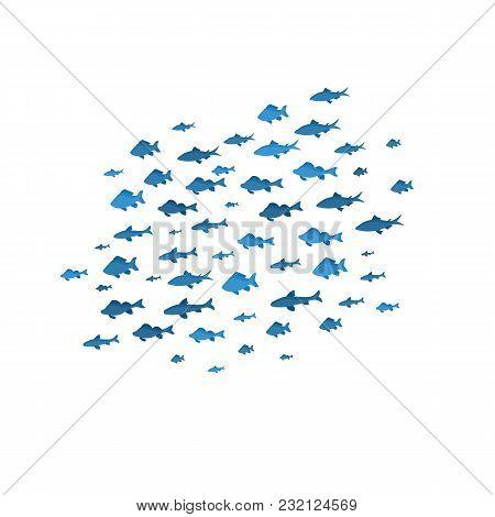 School Of Fish Sea Blue Silhouettes On White Background Underwater Seascape Swimming Movement Nautic