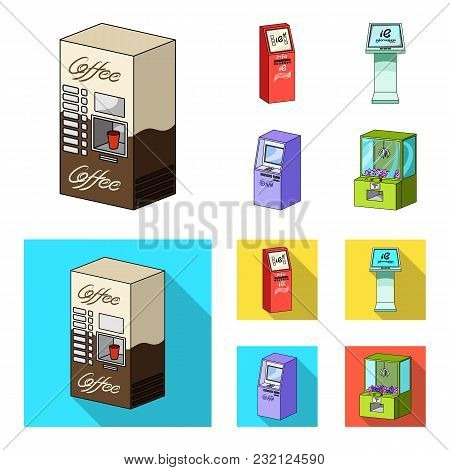 Coffee Machine, Atm, Information Terminal. Terminals Set Collection Icons In Cartoon, Flat Style Iso