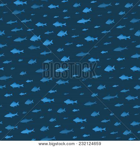 School Of Fish Sea Seamless Pattern Background On A Blue Underwater Seascape Swimming Movement Nauti
