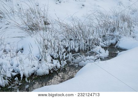 A Stream Has Almost Disappeared Under The Snow On Welsh Mountain Moors