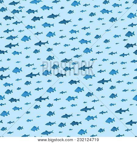School Of Fish Sea Seamless Pattern Background Underwater Seascape Swimming Movement Nautical Nature